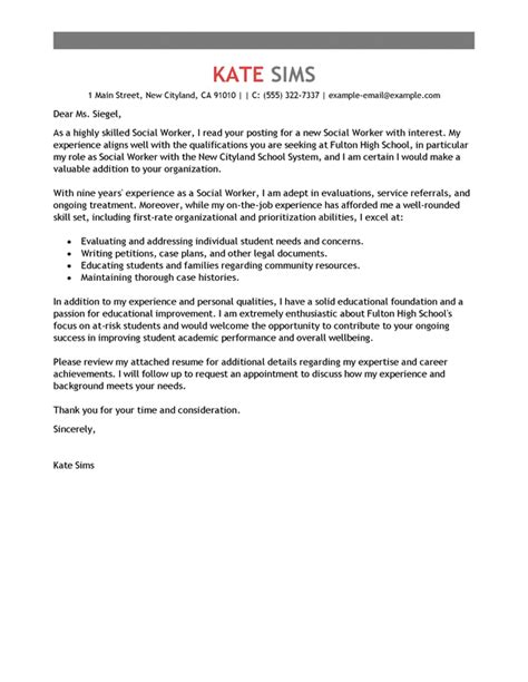 Cover Letter For A Social Worker Position by Best Social Worker Cover Letter Exles Livecareer