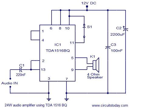 car audio lifier circuit diagram 24w lifier using tda1516 electronic circuits and