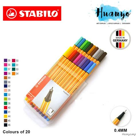 Stabilo 4 All Inner Box Blue stabilo point 88 fineliner marker pen 0 4 mm 20 color