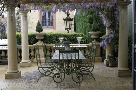 provincial outdoor furniture tables refectory table 6 8 base forged steel wrought iron