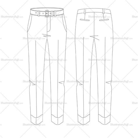 pattern in sketch 3 men s pleated pants fashion flat template illustrator stuff