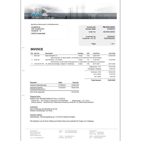 Rechnung In Englisch übersetzen Jtl Wawi Druckvorlage Englisch Design 04 Rechnung Wawi Dl 25 00