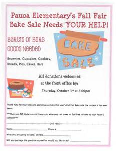 please donate to our fall fair bake sale pauoa
