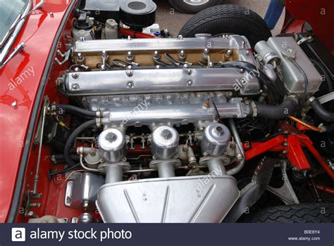 vintage jaguar e type vintage jaguar e type engine bay stock photo royalty free