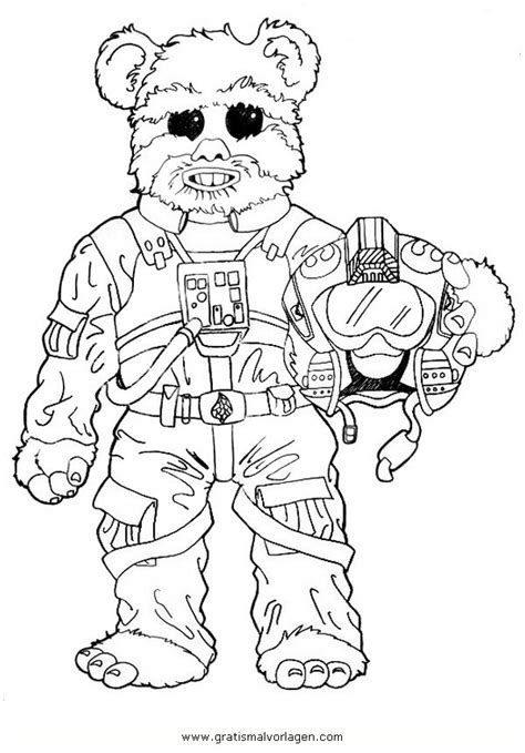 starwars ewoks  gratis malvorlage  science fiction star wars ausmalen