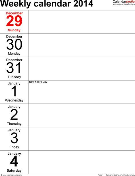 Printable Calendar Weekly December 2014 2015 Weekly Appointment Calendar December Printable