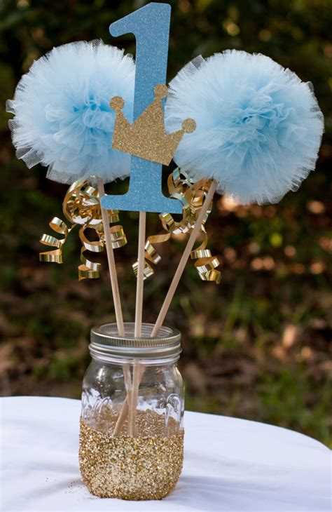 prince birthday party blue and gold baby boy centerpiece