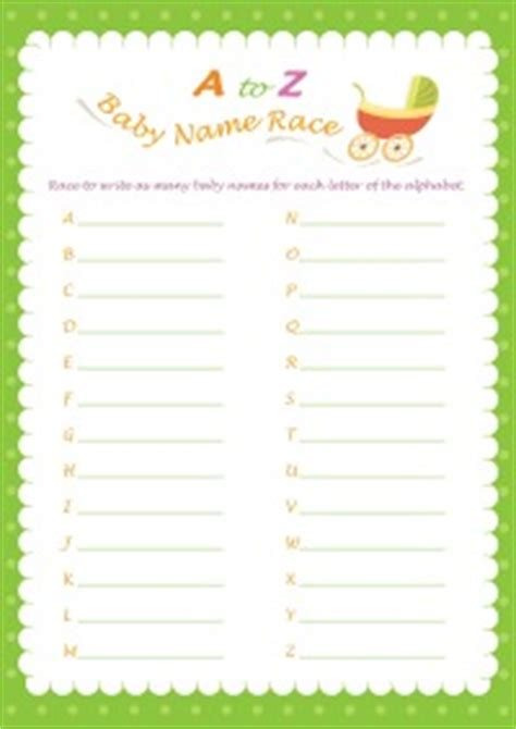 Free Printable Baby Shower A To Z by A To Z Name Race
