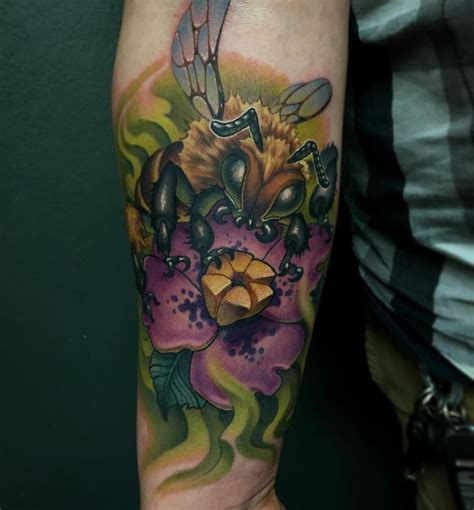 new school jungle tattoo aaron spring new school nature and bee tattoo eternalink