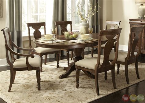 Oval Dining Room Table Set Rustic Oval Pedestal Table Formal Dining Furniture Set