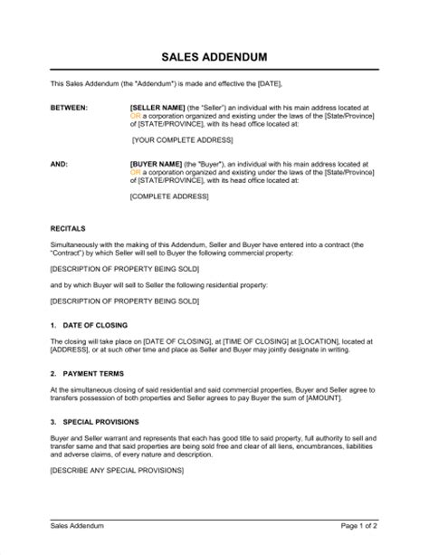 Sales Addendum Template Sle Form Biztree Com Lease Addendum Template Word