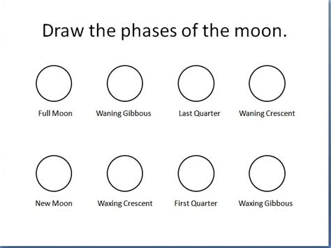 printable quiz on phases of the moon draw the phases of the moon astronomy unit pinterest