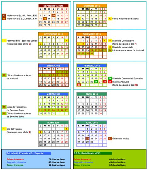 Calendario Escolar Andalucia 2016 Calendario Escolar Centros Universitarios 2015 2016 New