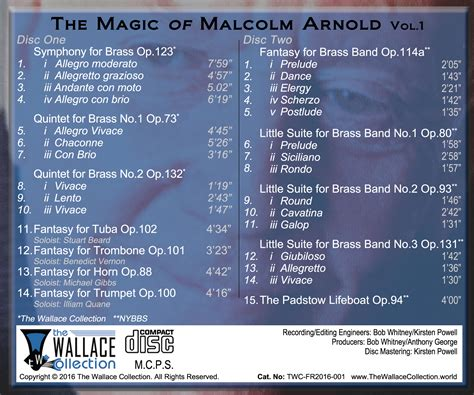 back of cd new cd release malcolm arnold the wallace collection