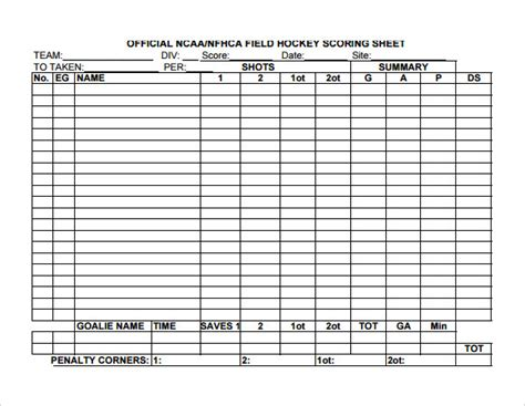 hockey score sheet 8 hockey score sheet templates sle templates