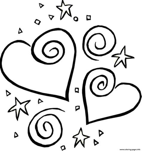 Stars And Heart Valentine 316d Coloring Pages Printable Free Printable Day Coloring Pages
