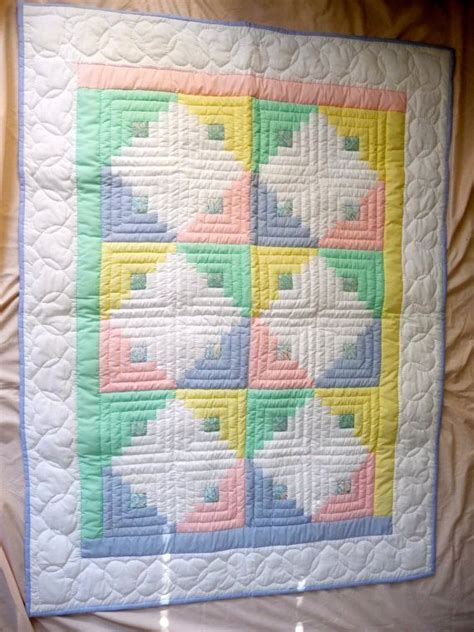 amish infant quilt log cabin pattern unisex colors log