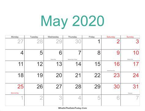 Calendar 2020 Printable With Holidays may 2020 calendar printable with holidays