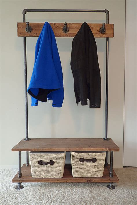 built in coat rack bench industrial pipe entry bench with built in coat rack
