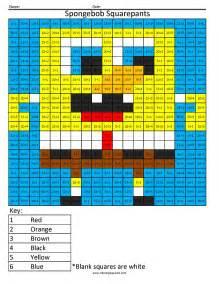 spongebob squarepants basic division coloring squared