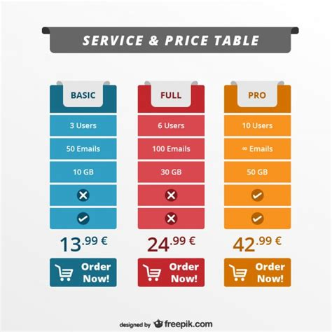 service and price table web template vector free download