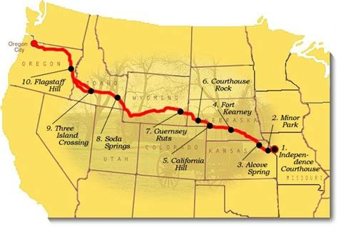 map of oregon trail map image of suggested to visit on the oregon