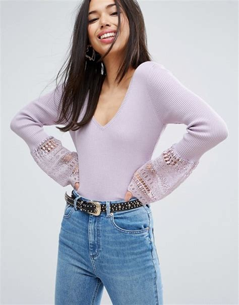 asos pattern jumper with sheer sleeves asos asos jumper with v neck and lace bell sleeve