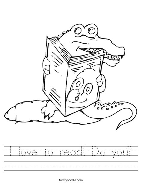 coloring pages reading book i love to read do you worksheet twisty noodle