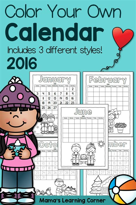 make my own calendar with pictures free color printable calendar for 2016 mamas