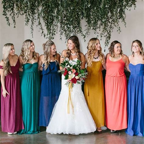 Wedding Team Colours by Mix Colored Bridesmaid Attire Make Lovely Look