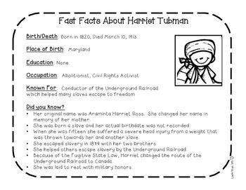 harriet tubman biography 3rd grade harriet tubman research activity sheets and graphic