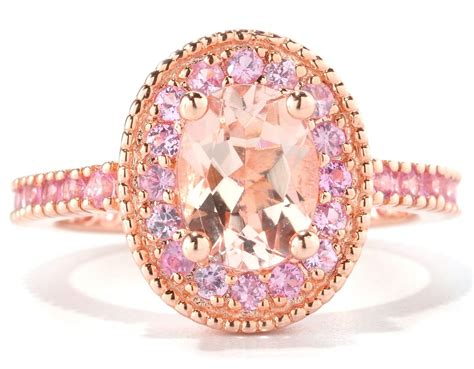 pink ring gold ring pink morganite gold ring