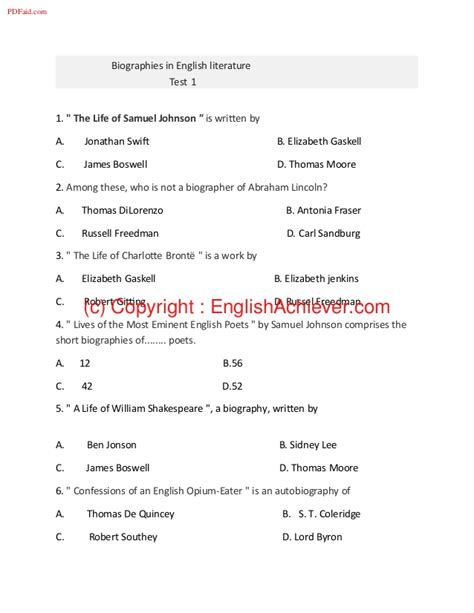what is biography in english literature biographies in english literature test 1 pdf w