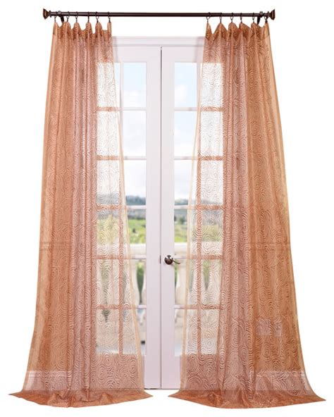 esparanza copper embroidered sheer curtain contemporary