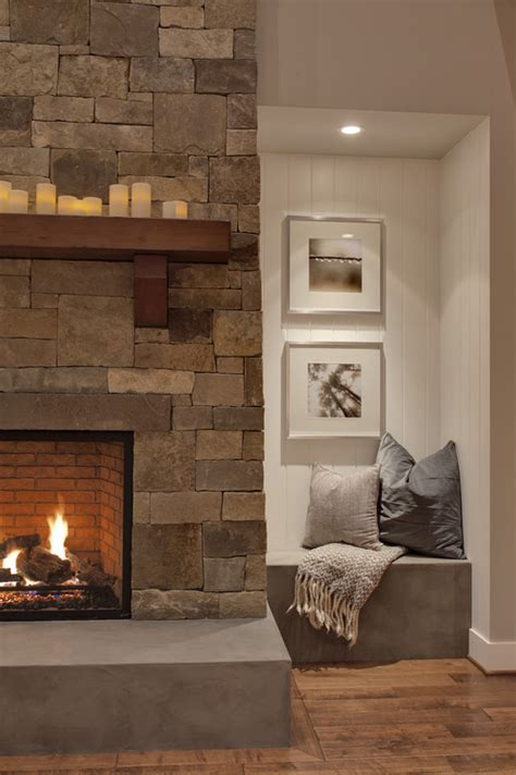 fireplace seating ideas interior styles and design rustic warmth stone fireplaces