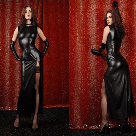 New Oscar Maxidress Pu europe black strapless package hip tight pu leather
