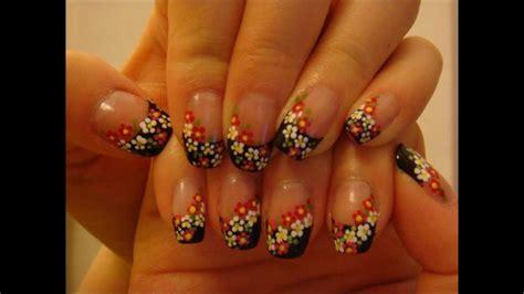 nail design flower youtube nail art black french tip flowers youtube