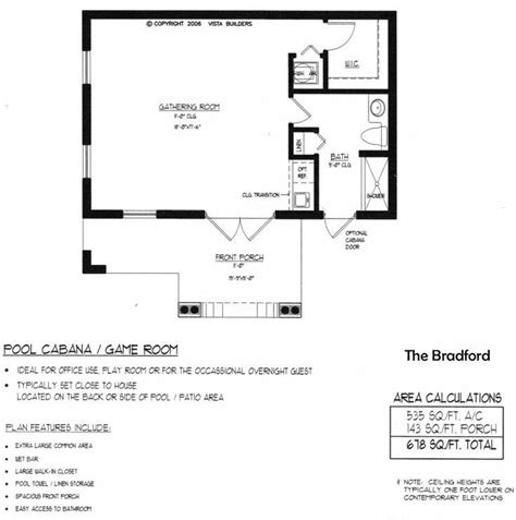Bradford Pool House Floor Plan Guest House Pinterest Blueprints For Pool House