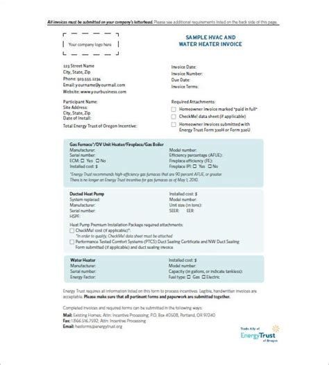 hvac invoice template   word excel  format