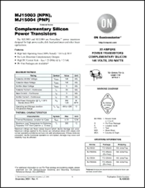 transistor mj15003 datasheet on semiconductor mj15003 series datasheets mj15003