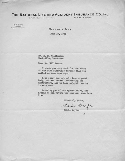 National Insurance Letter M The Nashville Tornado Of March 14 1933