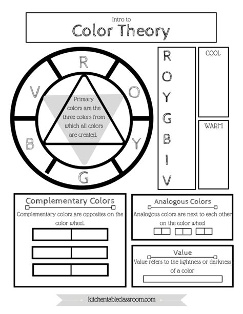 color theory worksheet free color wheel color theory printable the kitchen