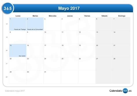 Calendario M Ayo Calendario Mayo 2017