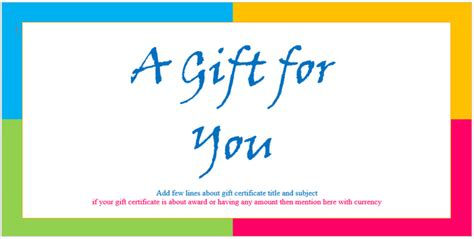 custom gift certificate templates for microsoft word