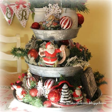 Diy Kitchen Decorating Ideas how to make a galvanized tiered tray christmas centerpiece