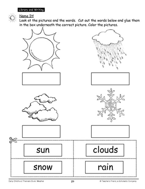 worksheets for preschoolers on weather name it activities weather and school