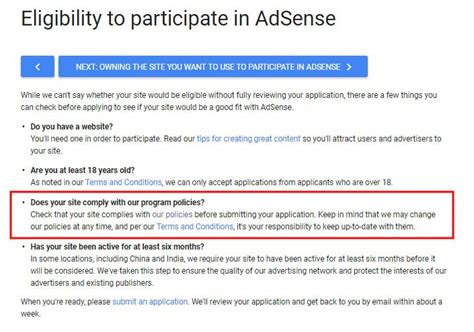 adsense eligibility disclaimer for google adsense termsfeed