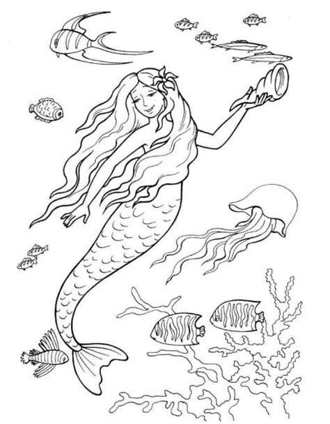 Mermaids For Adults Coloring Pages Mermaid Tale Coloring Pages
