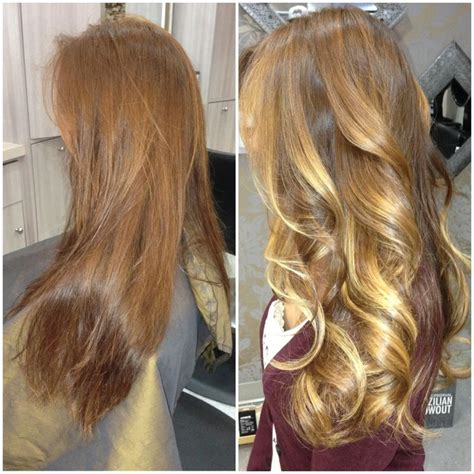 half balayage vs full balayage light auburn base with different shades of lighter tone