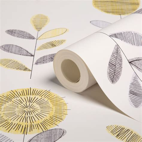 wallpaper designs b q graham brown superfresco grey yellow flower sketch